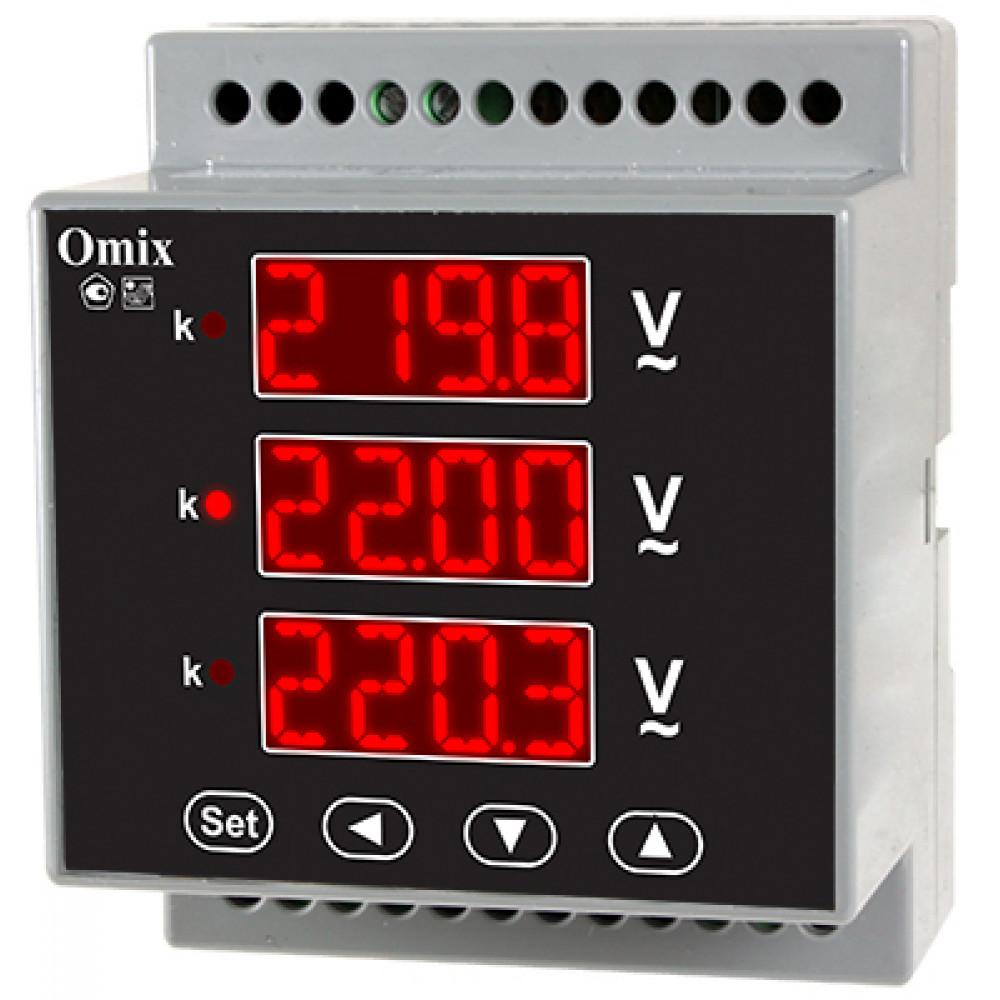 Вольтметр трехфазный на DIN-рейку Omix D4-VX-3-0.5