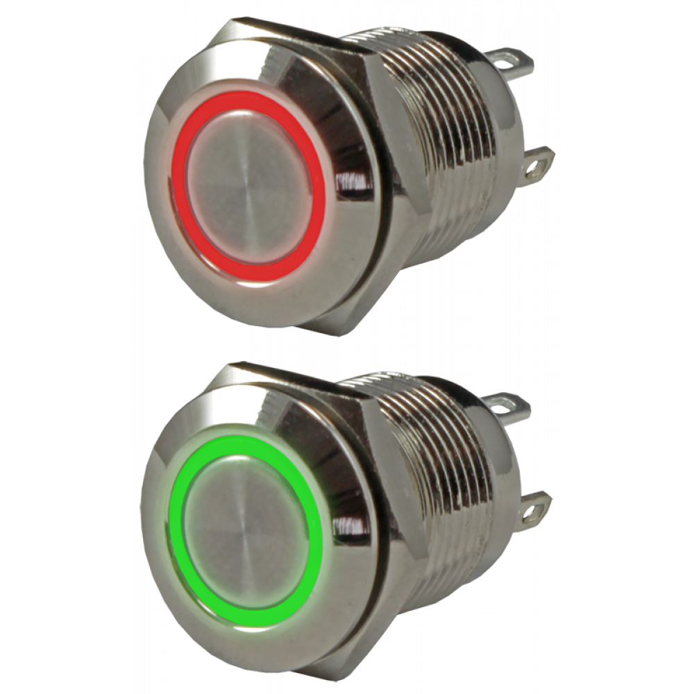 Кнопка металлическая антивандальная миниатюрная с подсветкой AR-SD16-BM12100.FR