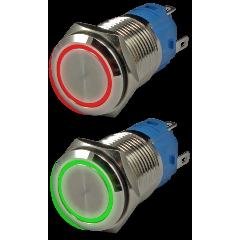 Кнопка металлическая антивандальная с подсветкой AR-SD16-DM16001.FR