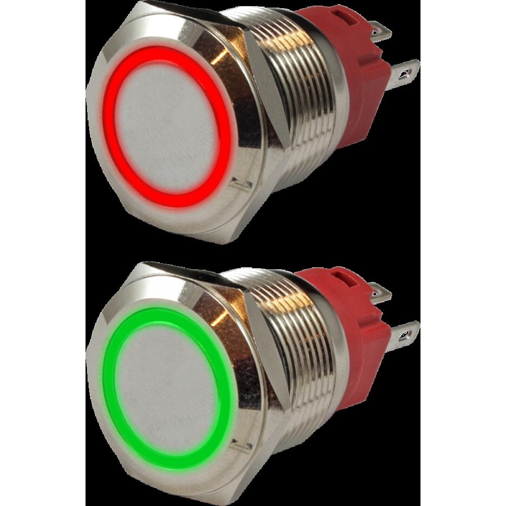 Кнопка металлическая антивандальная с подсветкой AR-SD16-BL19001.FR