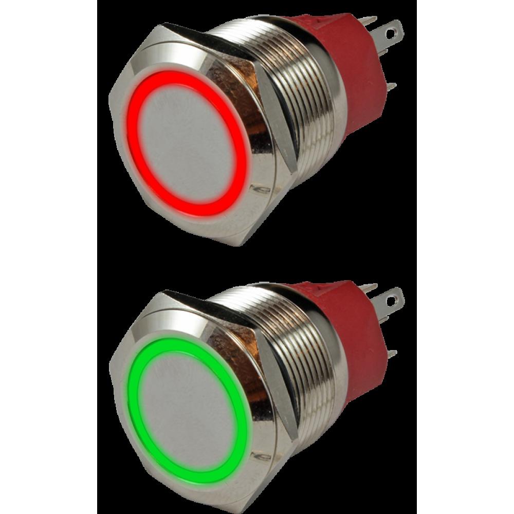 Кнопка металлическая антивандальная с подсветкой AR-SD16-BL22001.FR