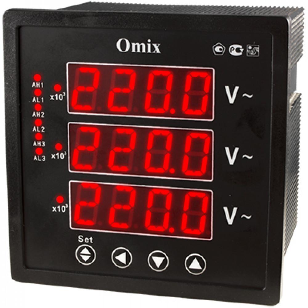 Вольтметр трехфазный щитовой с релейным выходом Omix P99-VX-3-0.5-K